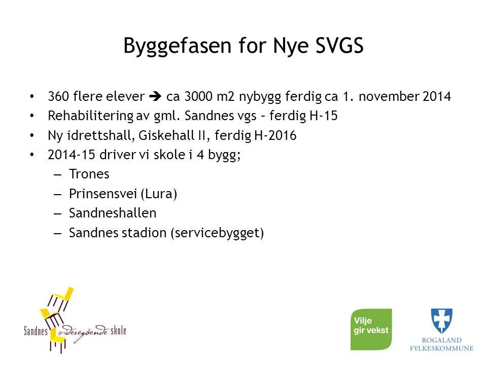 Byggefasen for Nye SVGS 360 flere elever  ca 3000 m2 nybygg ferdig ca 1. november 2014 Rehabilitering av gml. Sandnes vgs – ferdig H-15 Ny idrettshal