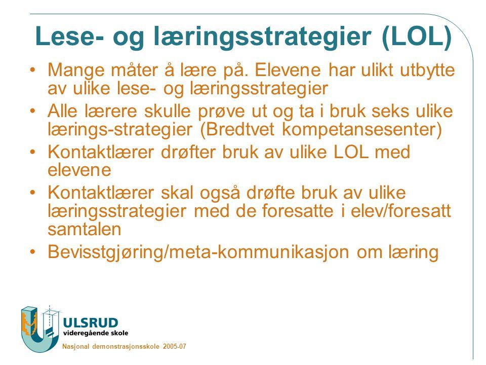 Nasjonal demonstrasjonsskole 2005-07 Lese- og læringsstrategier (LOL) Mange måter å lære på.