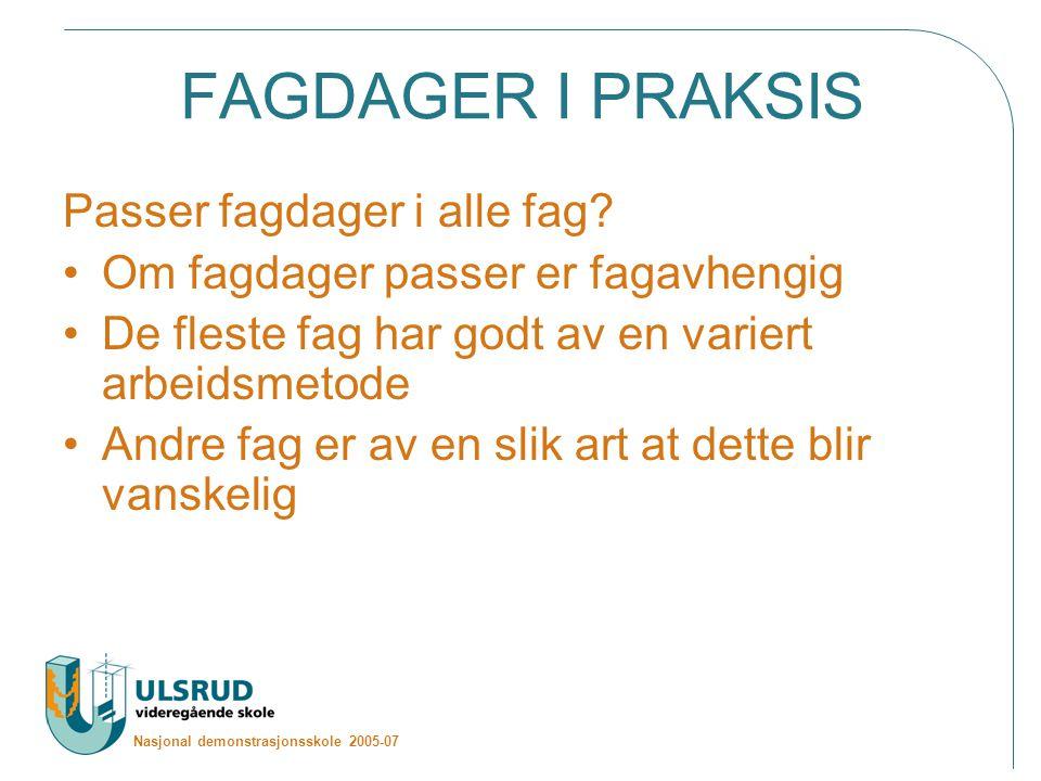 Nasjonal demonstrasjonsskole 2005-07 FAGDAGER I PRAKSIS Passer fagdager i alle fag.