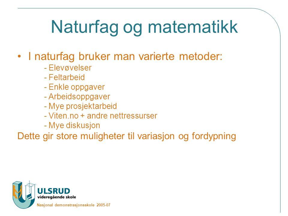 Nasjonal demonstrasjonsskole 2005-07 Naturfag og matematikk I naturfag bruker man varierte metoder: - Elevøvelser - Feltarbeid - Enkle oppgaver - Arbe