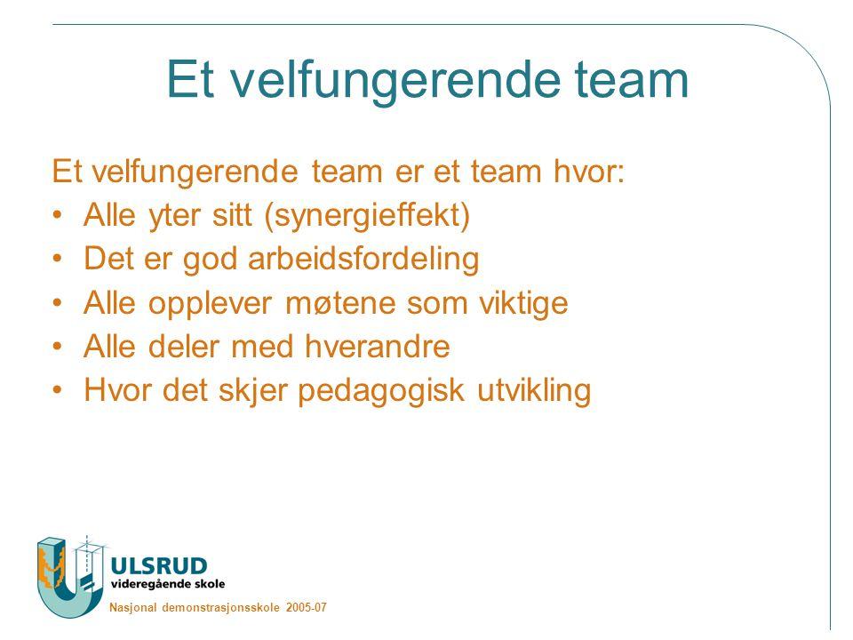 Nasjonal demonstrasjonsskole 2005-07 Et velfungerende team Et velfungerende team er et team hvor: Alle yter sitt (synergieffekt) Det er god arbeidsfordeling Alle opplever møtene som viktige Alle deler med hverandre Hvor det skjer pedagogisk utvikling