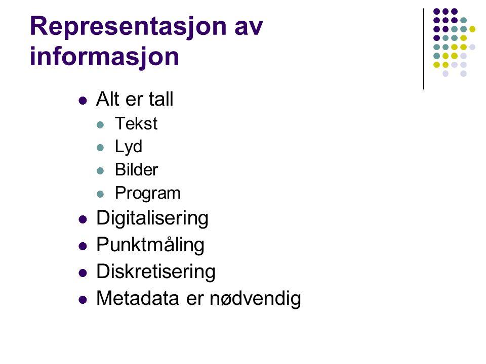 Representasjon av informasjon Alt er tall Tekst Lyd Bilder Program Digitalisering Punktmåling Diskretisering Metadata er nødvendig