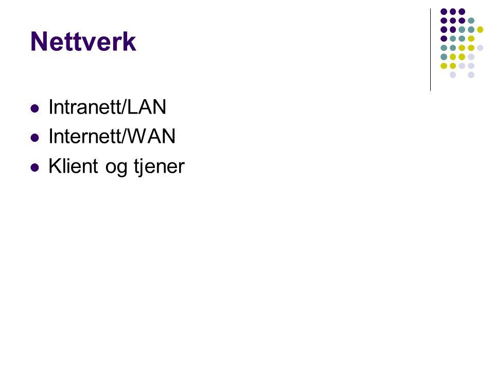 Nettverk Intranett/LAN Internett/WAN Klient og tjener