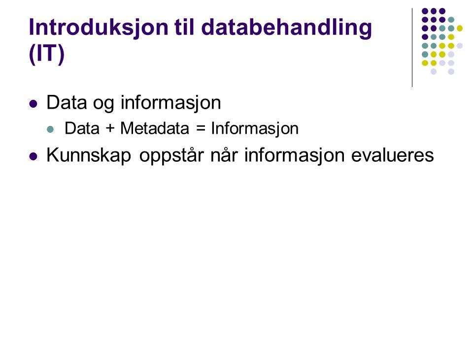 Introduksjon til databehandling (IT) Data og informasjon Data + Metadata = Informasjon Kunnskap oppstår når informasjon evalueres