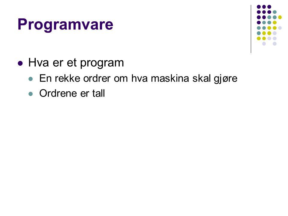 Programvare Hva er et program En rekke ordrer om hva maskina skal gjøre Ordrene er tall