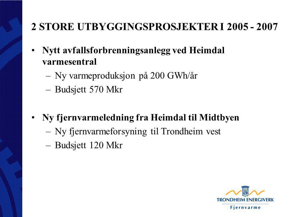 2 STORE UTBYGGINGSPROSJEKTER I 2005 - 2007 Nytt avfallsforbrenningsanlegg ved Heimdal varmesentral –Ny varmeproduksjon på 200 GWh/år –Budsjett 570 Mkr