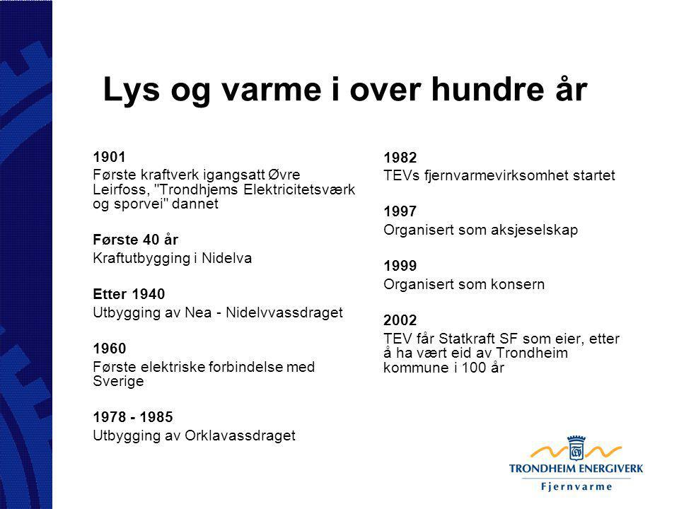 Lys og varme i over hundre år 1901 Første kraftverk igangsatt Øvre Leirfoss,