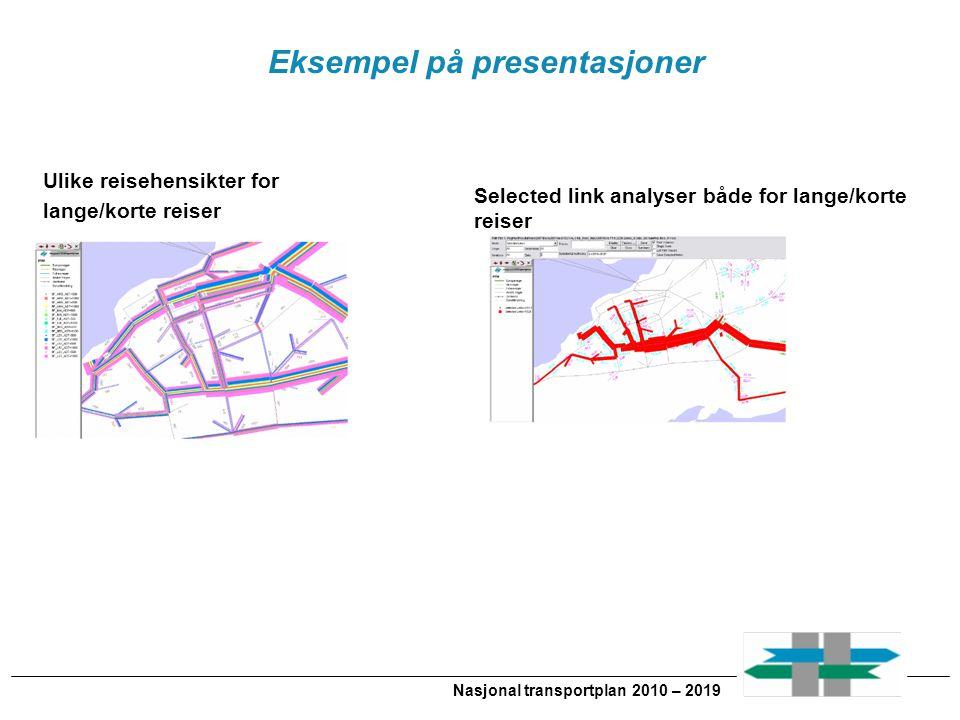 Nasjonal transportplan 2010 – 2019 Eksempel på presentasjoner Ulike reisehensikter for lange/korte reiser Selected link analyser både for lange/korte reiser