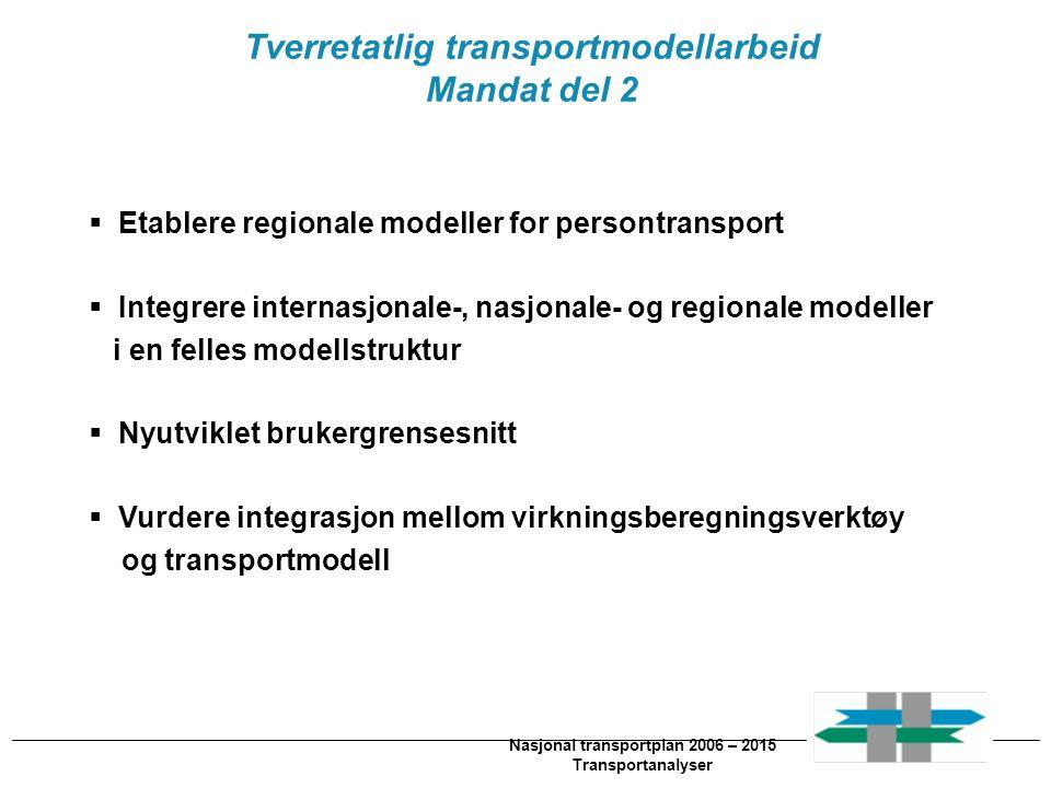 Nasjonal transportplan 2010 – 2019 Implementering av NTM5 i Cube Base(2)  Programmere nye grensesnitt for LOS-data og etterspørselsmnatriser  BIL  OK  Kollektiv: Noe mer utfordrende…  NTM-fast og NTM-flex  NTM5-fast: Etterspørselsmatriser konvertert fra EMME\2.