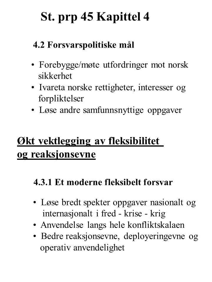 4.2 Forsvarspolitiske mål Forebygge/møte utfordringer mot norsk sikkerhet Ivareta norske rettigheter, interesser og forpliktelser Løse andre samfunnsnyttige oppgaver Økt vektlegging av fleksibilitet og reaksjonsevne 4.3.1 Et moderne fleksibelt forsvar Løse bredt spekter oppgaver nasionalt og internasjonalt i fred - krise - krig Anvendelse langs hele konfliktskalaen Bedre reaksjonsevne, deployeringevne og operativ anvendelighet St.