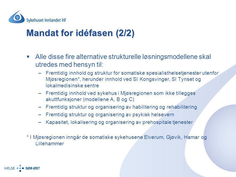 Mandat for idéfasen (2/2)  Alle disse fire alternative strukturelle løsningsmodellene skal utredes med hensyn til: –Fremtidig innhold og struktur for
