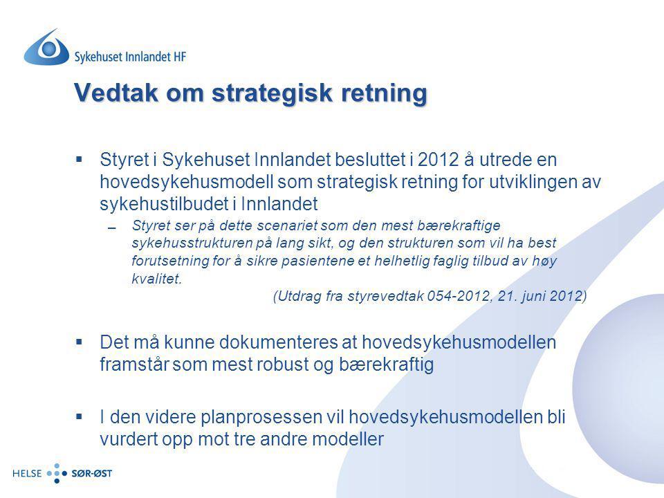 Vedtak om strategisk retning  Styret i Sykehuset Innlandet besluttet i 2012 å utrede en hovedsykehusmodell som strategisk retning for utviklingen av