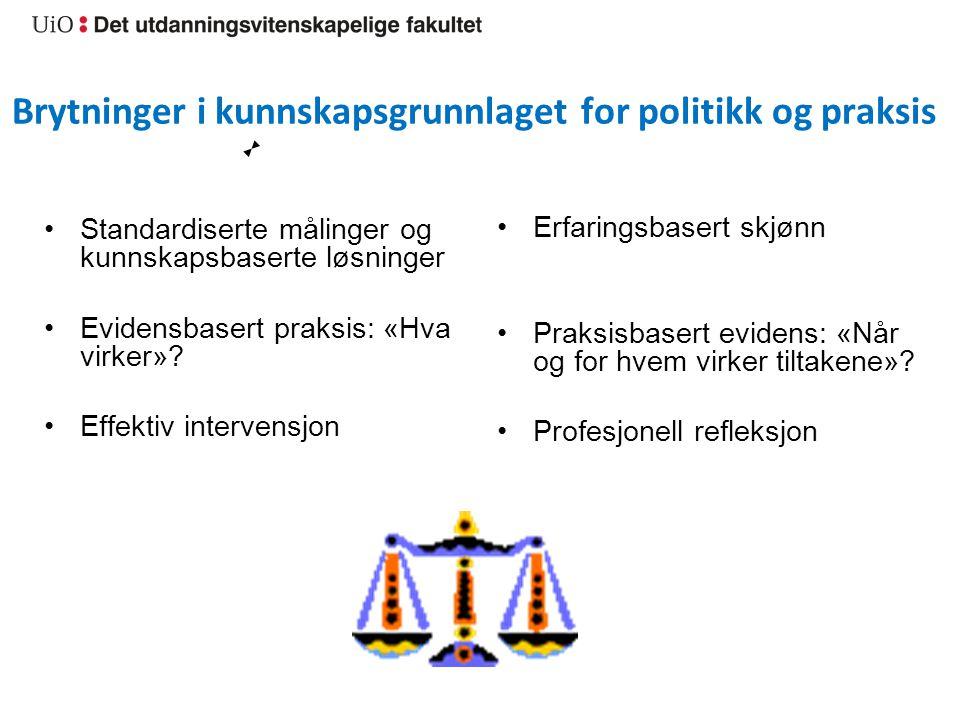 Brytninger i kunnskapsgrunnlaget for politikk og praksis Standardiserte målinger og kunnskapsbaserte løsninger Evidensbasert praksis: «Hva virker»? Ef