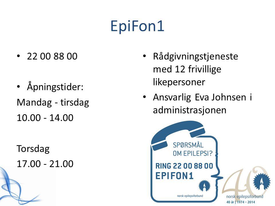 EpiFon1 22 00 88 00 Åpningstider: Mandag - tirsdag 10.00 - 14.00 Torsdag 17.00 - 21.00 Rådgivningstjeneste med 12 frivillige likepersoner Ansvarlig Ev