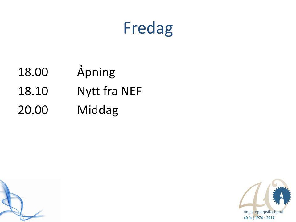 Fredag 18.00Åpning 18.10Nytt fra NEF 20.00Middag