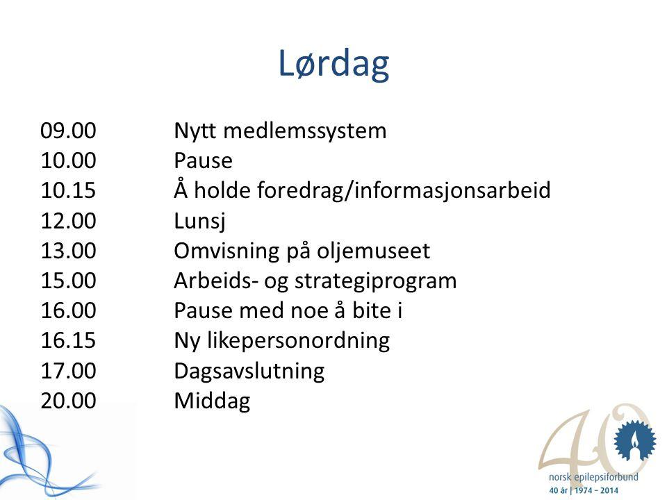 Lørdag 09.00Nytt medlemssystem 10.00Pause 10.15Å holde foredrag/informasjonsarbeid 12.00Lunsj 13.00Omvisning på oljemuseet 15.00Arbeids- og strategipr