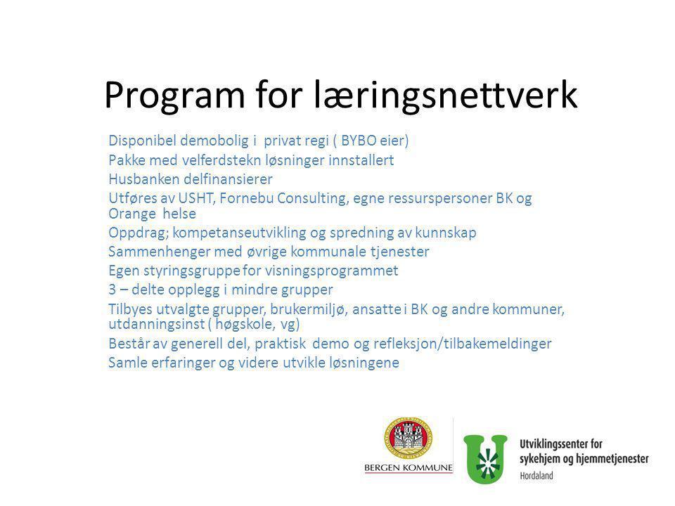 Program for læringsnettverk Disponibel demobolig i privat regi ( BYBO eier) Pakke med velferdstekn løsninger innstallert Husbanken delfinansierer Utfø