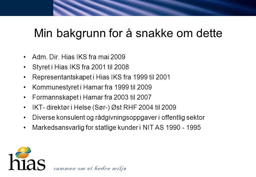 Min bakgrunn for å snakke om dette Adm. Dir. Hias IKS fra mai 2009 Styret i Hias IKS fra 2001 til 2008 Representantskapet i Hias IKS fra 1999 til 2001
