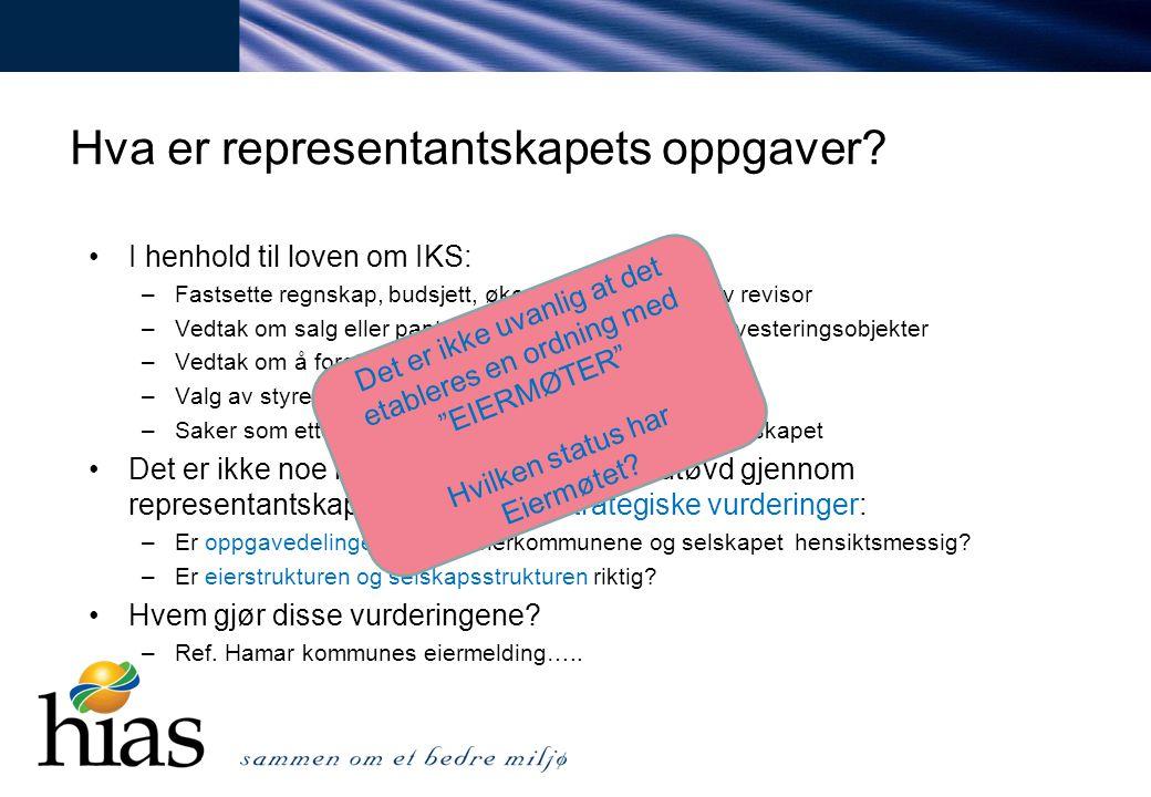Hva er representantskapets oppgaver? I henhold til loven om IKS: –Fastsette regnskap, budsjett, økonomiplan og valg av revisor –Vedtak om salg eller p