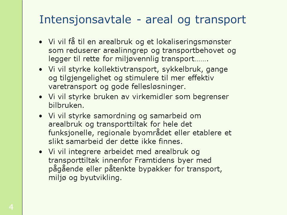 4 Intensjonsavtale - areal og transport Vi vil få til en arealbruk og et lokaliseringsmønster som reduserer arealinngrep og transportbehovet og legger til rette for miljøvennlig transport…….