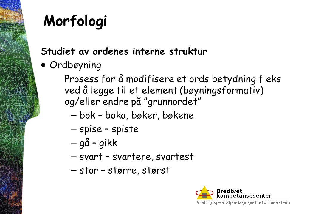 Morfologi Studiet av ordenes interne struktur  Ordbøyning Prosess for å modifisere et ords betydning f eks ved å legge til et element (bøyningsformat