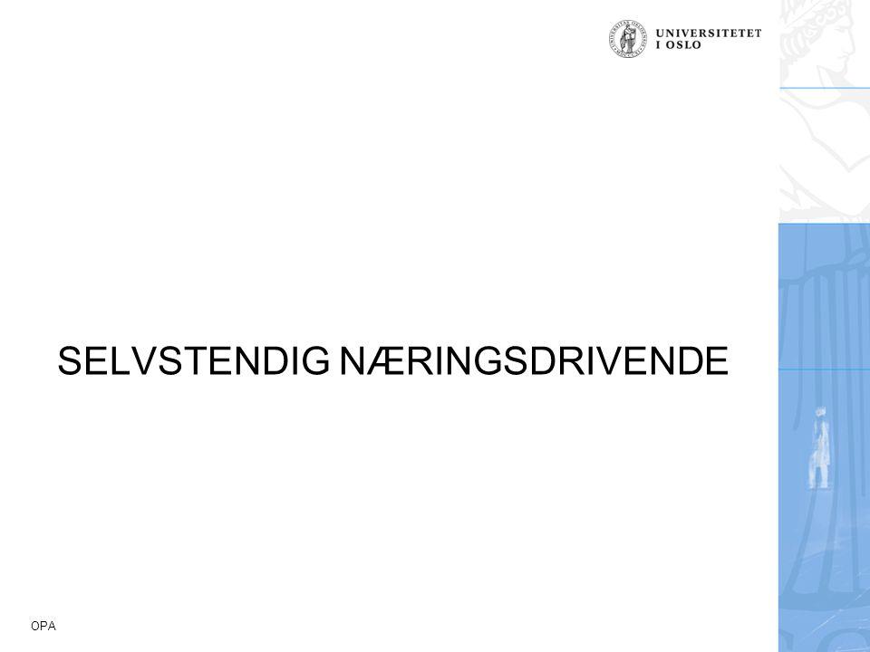 OPA SELVSTENDIG NÆRINGSDRIVENDE