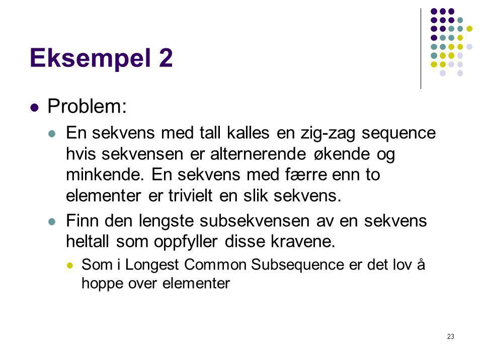 23 Eksempel 2 Problem: En sekvens med tall kalles en zig-zag sequence hvis sekvensen er alternerende økende og minkende. En sekvens med færre enn to e