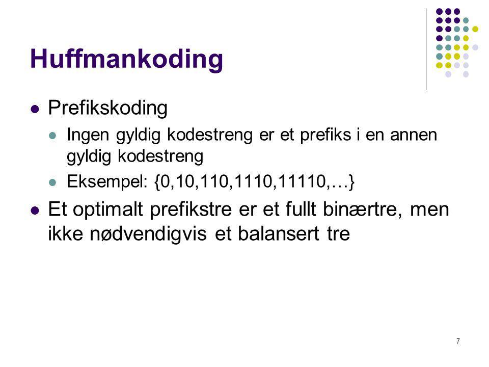 7 Huffmankoding Prefikskoding Ingen gyldig kodestreng er et prefiks i en annen gyldig kodestreng Eksempel: {0,10,110,1110,11110,…} Et optimalt prefiks