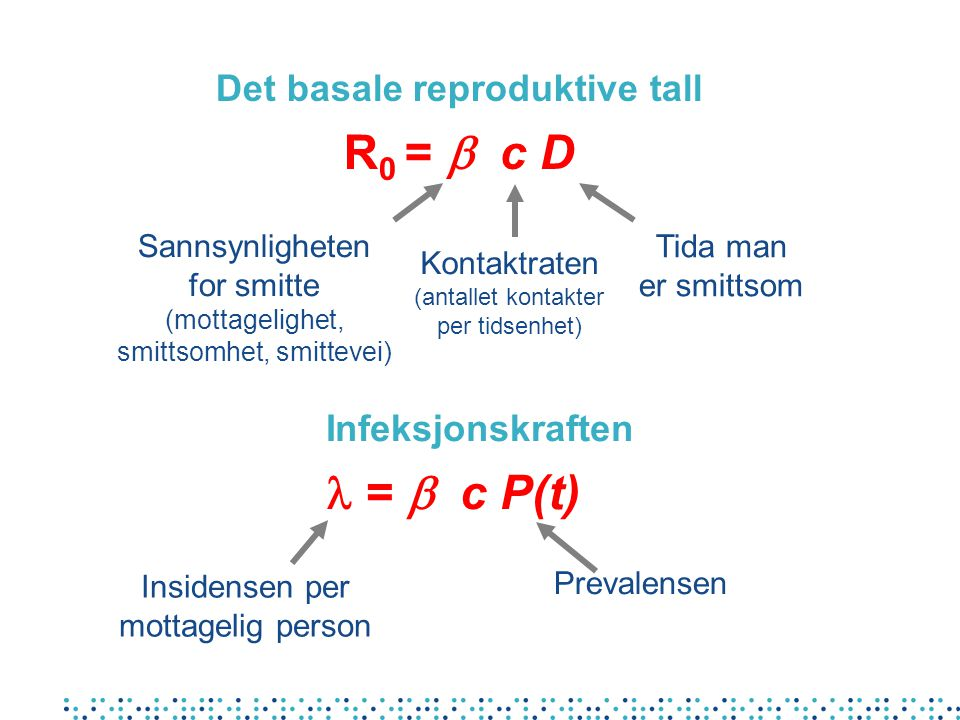 Det basale reproduktive tall R 0 =  c D Sannsynligheten for smitte (mottagelighet, smittsomhet, smittevei) Kontaktraten (antallet kontakter per tidsenhet) Tida man er smittsom Infeksjonskraften =  c P(t) Prevalensen Insidensen per mottagelig person