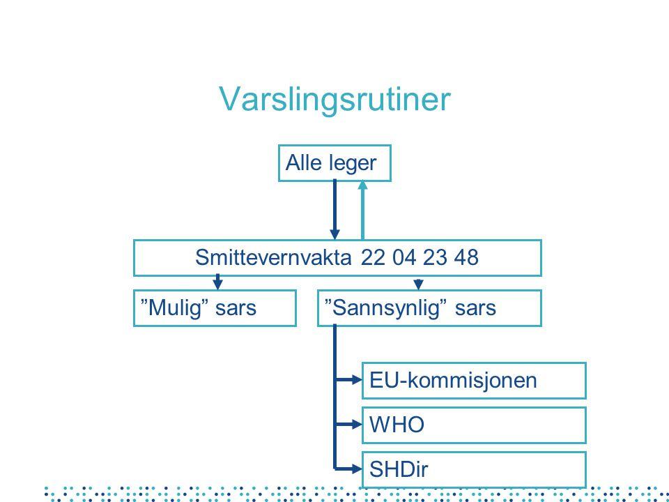"""Varslingsrutiner Alle leger Smittevernvakta 22 04 23 48 """"Mulig"""" sars""""Sannsynlig"""" sars EU-kommisjonen WHO SHDir"""