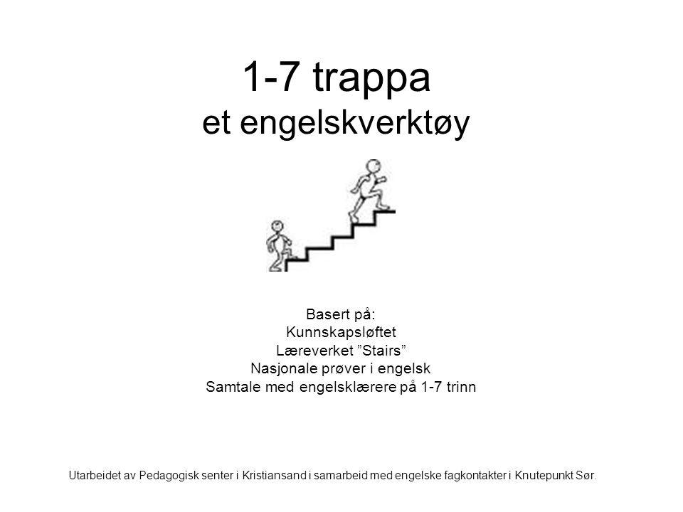 """1-7 trappa et engelskverktøy Basert på: Kunnskapsløftet Læreverket """"Stairs"""" Nasjonale prøver i engelsk Samtale med engelsklærere på 1-7 trinn Utarbeid"""