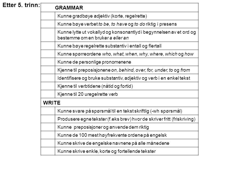 GRAMMAR Kunne gradbøye adjektiv (korte, regelrette) Kunne bøye verbet to be, to have og to do riktig i presens Kunne lytte ut vokallyd og konsonantlyd