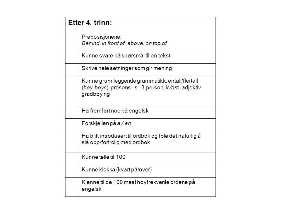 Etter 4. trinn: Preposisjonene: Behind, in front of, above, on top of Kunne svare på spørsmål til en tekst Skrive hele setninger som gir mening Kunne