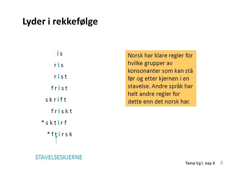Lyder i rekkefølge i s r i s r i s t f r i s t s k r i f t f r i s k t * s k t i r f * f t i r s k STAVELSESKJERNE Norsk har klare regler for hvilke grupper av konsonanter som kan stå før og etter kjernen i en stavelse.