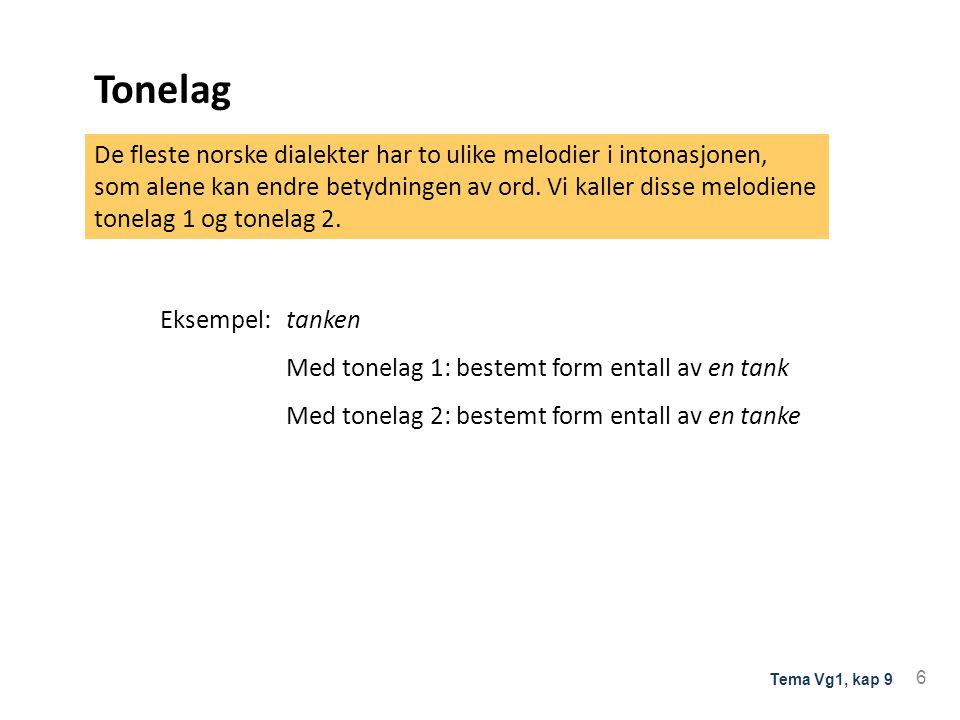 Tonelag Eksempel:tanken Med tonelag 1: bestemt form entall av en tank Med tonelag 2: bestemt form entall av en tanke De fleste norske dialekter har to ulike melodier i intonasjonen, som alene kan endre betydningen av ord.