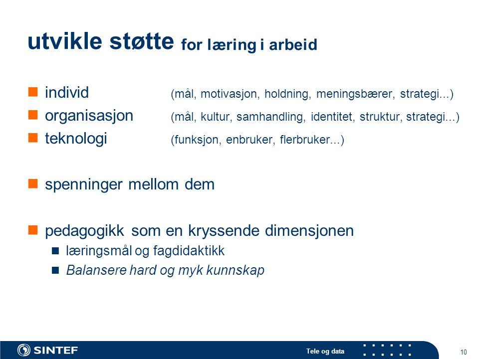 Tele og data 10 utvikle støtte for læring i arbeid individ (mål, motivasjon, holdning, meningsbærer, strategi...) organisasjon (mål, kultur, samhandling, identitet, struktur, strategi...) teknologi (funksjon, enbruker, flerbruker...) spenninger mellom dem pedagogikk som en kryssende dimensjonen læringsmål og fagdidaktikk Balansere hard og myk kunnskap