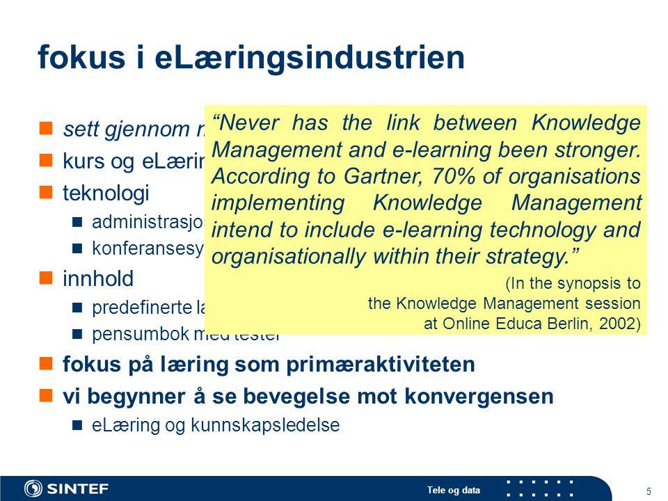 Tele og data 5 fokus i eLæringsindustrien sett gjennom mine briller (kanskje vel kritisk …) kurs og eLæringsobjekter teknologi administrasjonssystemer (LMS'er) konferansesystemer innhold predefinerte læringsstrategier/prosesser pensumbok med tester fokus på læring som primæraktiviteten vi begynner å se bevegelse mot konvergensen eLæring og kunnskapsledelse Never has the link between Knowledge Management and e-learning been stronger.