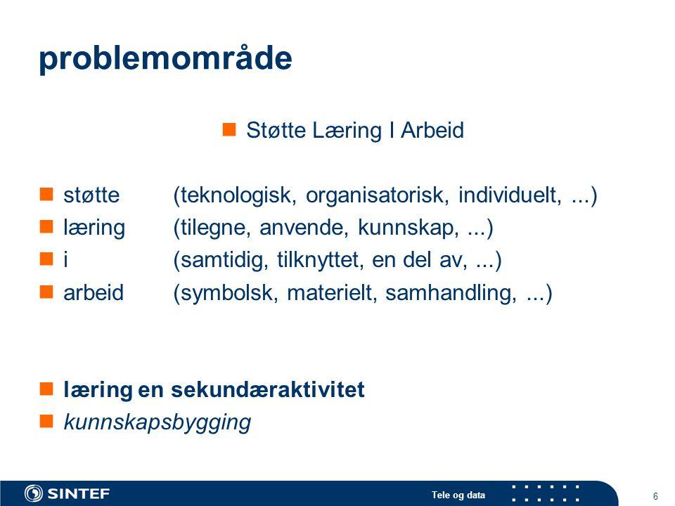 Tele og data 7 abstraksjonen: læring i arbeid er læringen integrert med / en del av arbeidet.