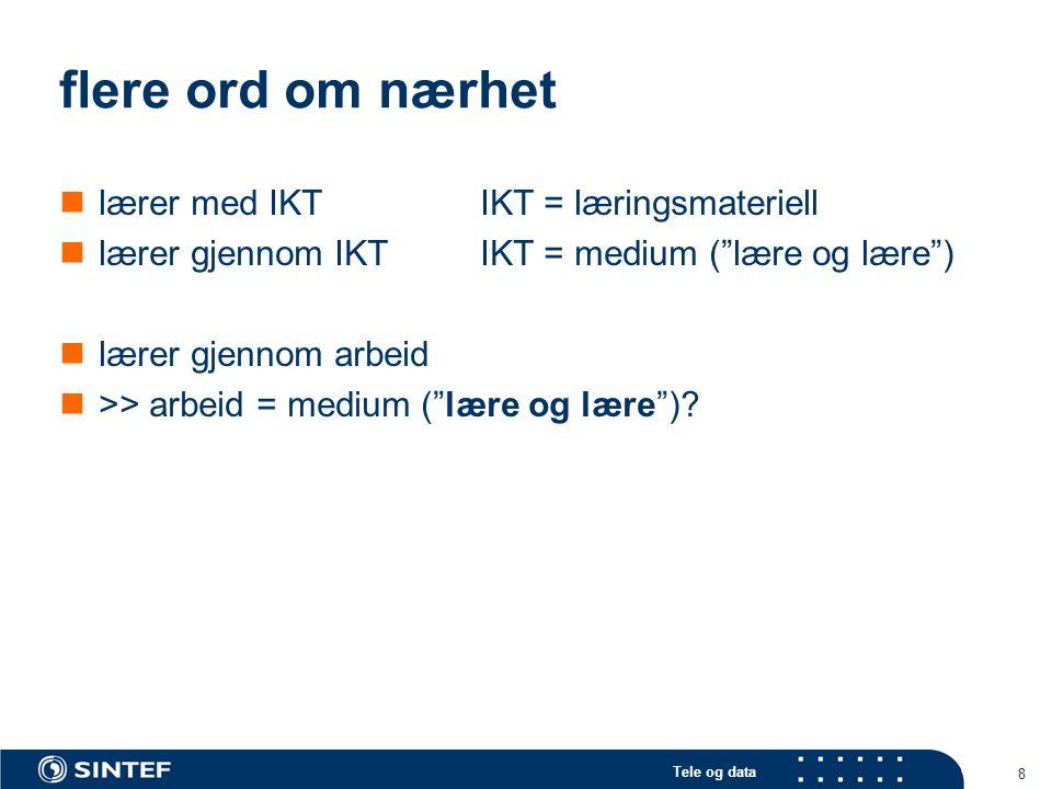 Tele og data 8 flere ord om nærhet lærer med IKTIKT = læringsmateriell lærer gjennom IKTIKT = medium ( lære og lære ) lærer gjennom arbeid >> arbeid = medium ( lære og lære )