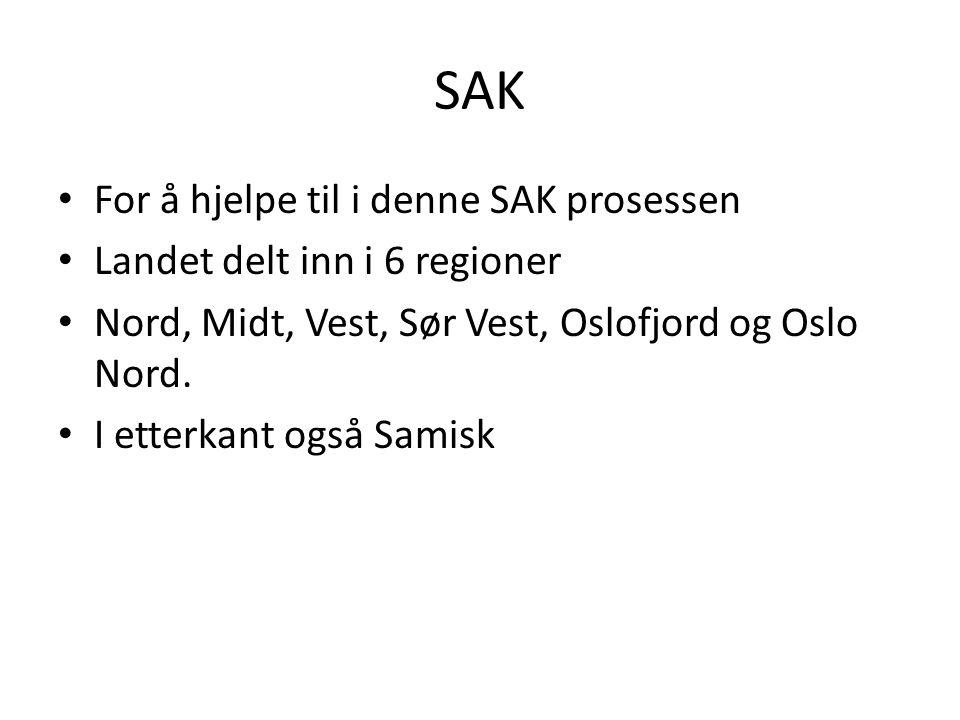 SAK For å hjelpe til i denne SAK prosessen Landet delt inn i 6 regioner Nord, Midt, Vest, Sør Vest, Oslofjord og Oslo Nord.