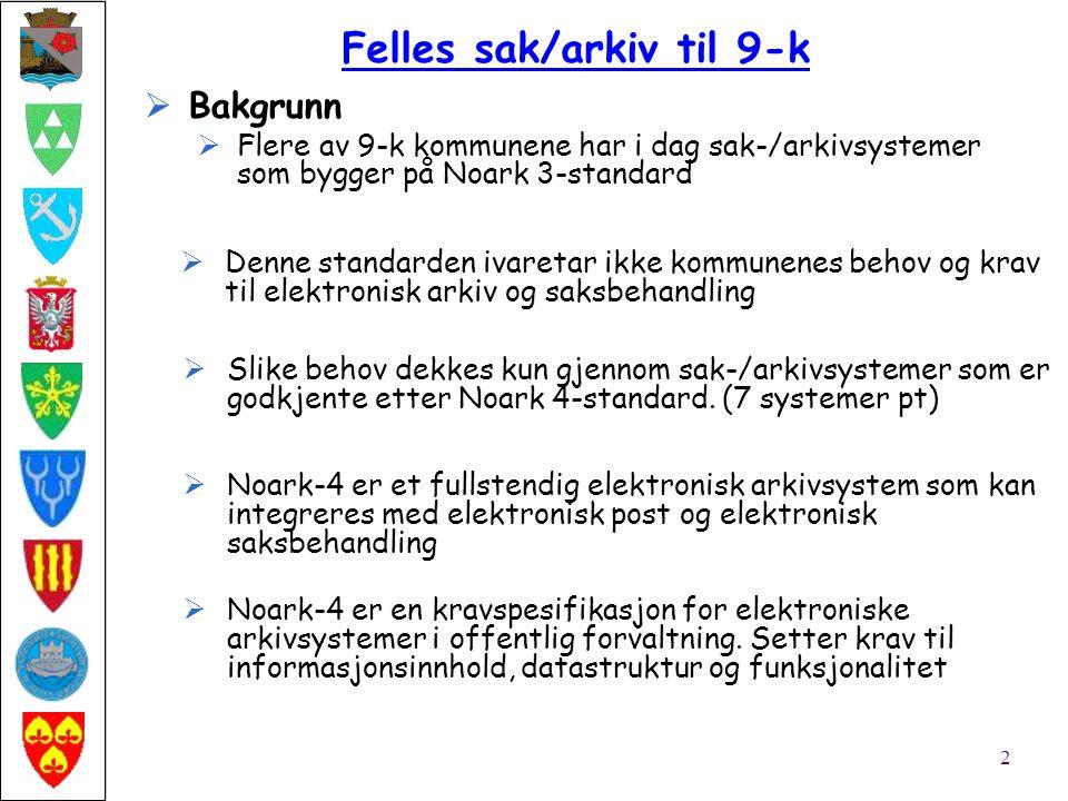  Bakgrunn  Flere av 9-k kommunene har i dag sak-/arkivsystemer som bygger på Noark 3-standard Felles sak/arkiv til 9-k 2  Denne standarden ivaretar