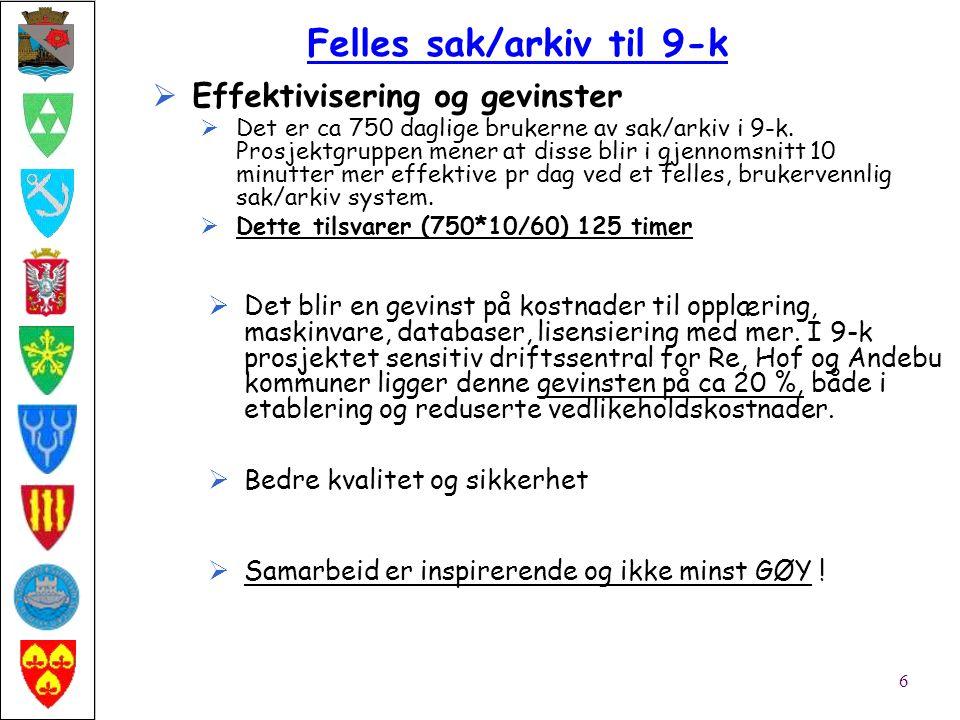  Effektivisering og gevinster  Det er ca 750 daglige brukerne av sak/arkiv i 9-k.