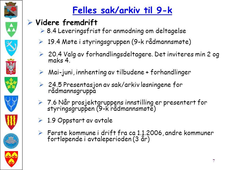  Videre fremdrift  8.4 Leveringsfrist for anmodning om deltagelse Felles sak/arkiv til 9-k 7  19.4 Møte i styringsgruppen (9-k rådmannsmøte)  20.4 Valg av forhandlingsdeltagere.