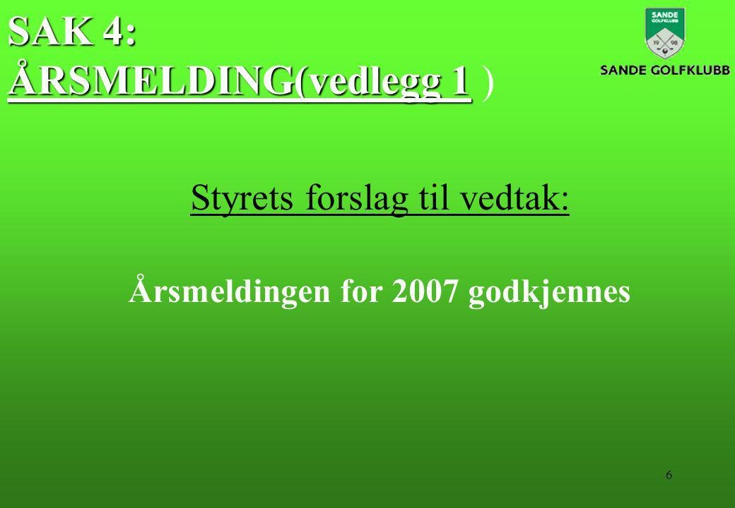 6 SAK 4: ÅRSMELDING(vedlegg 1 SAK 4: ÅRSMELDING(vedlegg 1 ) Styrets forslag til vedtak: Årsmeldingen for 2007 godkjennes