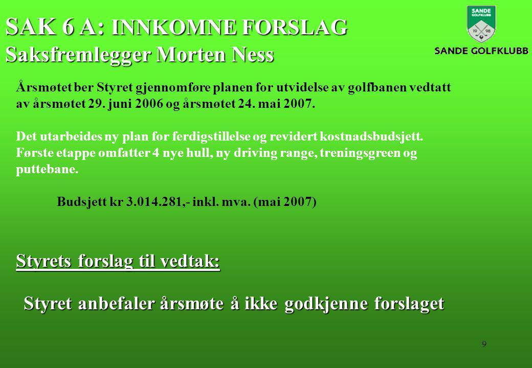 9 SAK 6 A: INNKOMNE FORSLAG Saksfremlegger Morten Ness Styrets forslag til vedtak: Årsmøtet ber Styret gjennomføre planen for utvidelse av golfbanen vedtatt av årsmøtet 29.