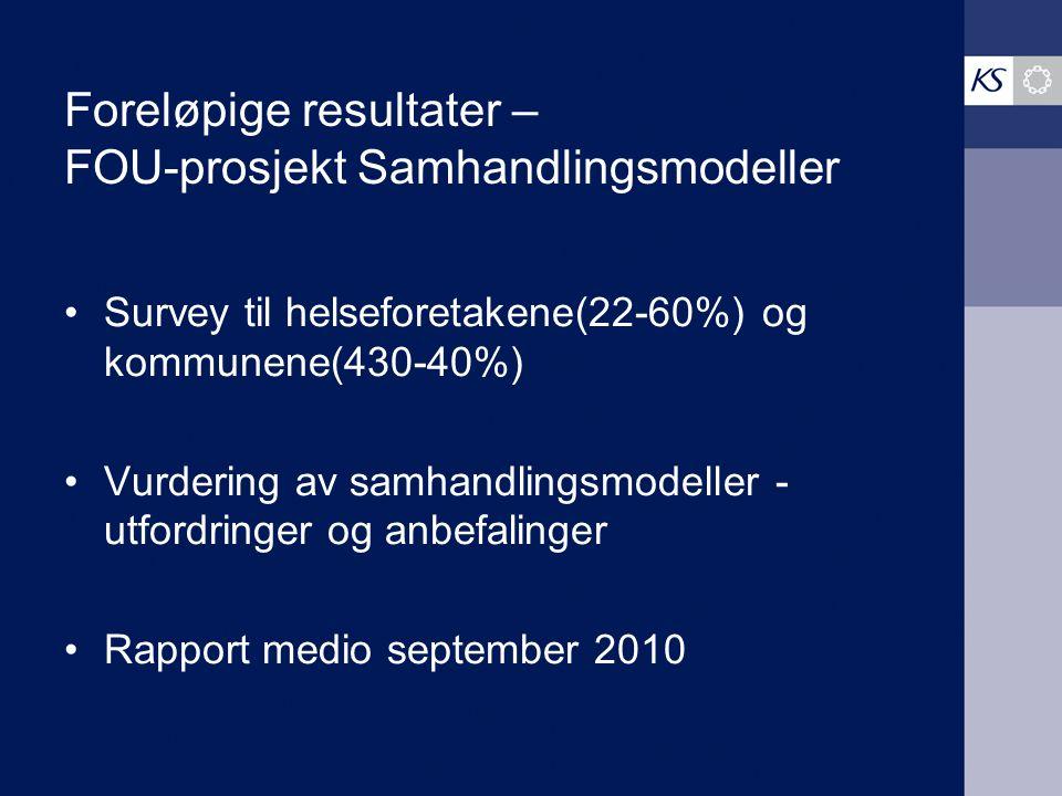 Foreløpige resultater – FOU-prosjekt Samhandlingsmodeller Survey til helseforetakene(22-60%) og kommunene(430-40%) Vurdering av samhandlingsmodeller - utfordringer og anbefalinger Rapport medio september 2010