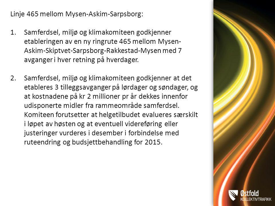 Linje 465 mellom Mysen-Askim-Sarpsborg: 1.Samferdsel, miljø og klimakomiteen godkjenner etableringen av en ny ringrute 465 mellom Mysen- Askim-Skiptvet-Sarpsborg-Rakkestad-Mysen med 7 avganger i hver retning på hverdager.
