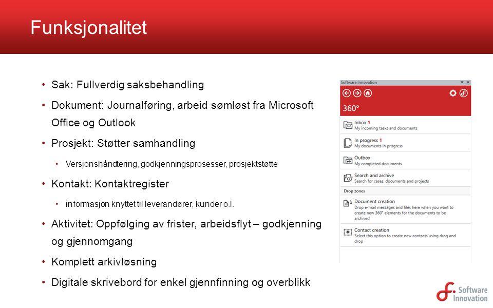 Funksjonalitet Sak: Fullverdig saksbehandling Dokument: Journalføring, arbeid sømløst fra Microsoft Office og Outlook Prosjekt: Støtter samhandling Ve
