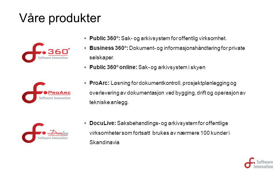 Public 360º: Sak- og arkivsystem for offentlig virksomhet. Business 360º: Dokument- og informasjonshåndtering for private selskaper. Public 360º onlin