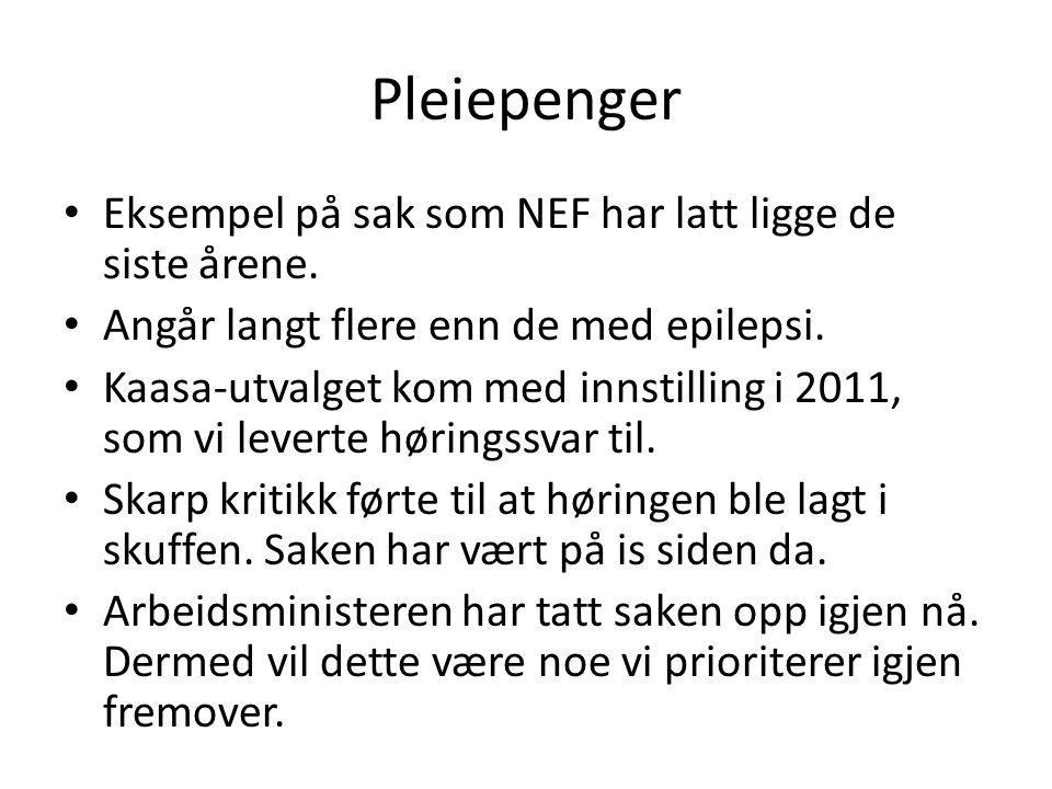 Pleiepenger Eksempel på sak som NEF har latt ligge de siste årene.